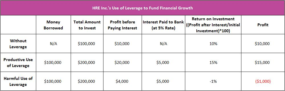 chart showing the use of financial leverage